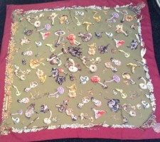 Hermes Champignons Scarf in hand-rolled silk