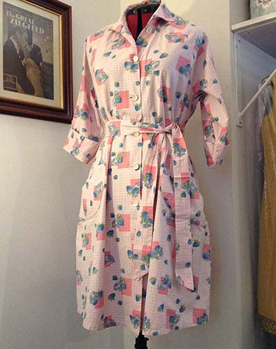 1940s,50s Cotton Print Housecoat